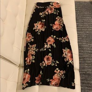 Charlotte Russe Black Floral Skirt Extra Small